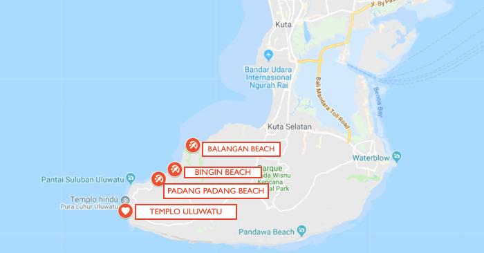 mapa de playas del sur de bali