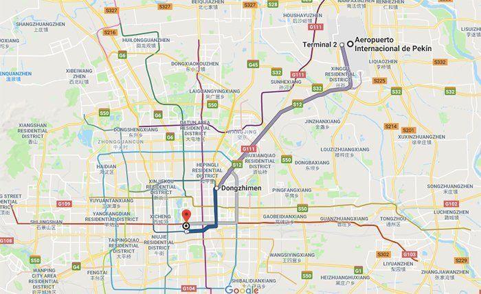 del aeropuerto de Pekín a la plaza de Tiananmen