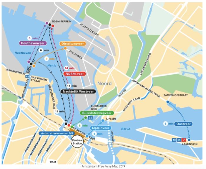 ferry gratis en Amsterdam