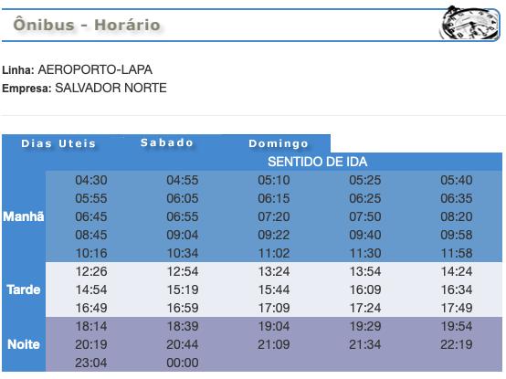 Horarios de la línea del aeropuerto a Lapa