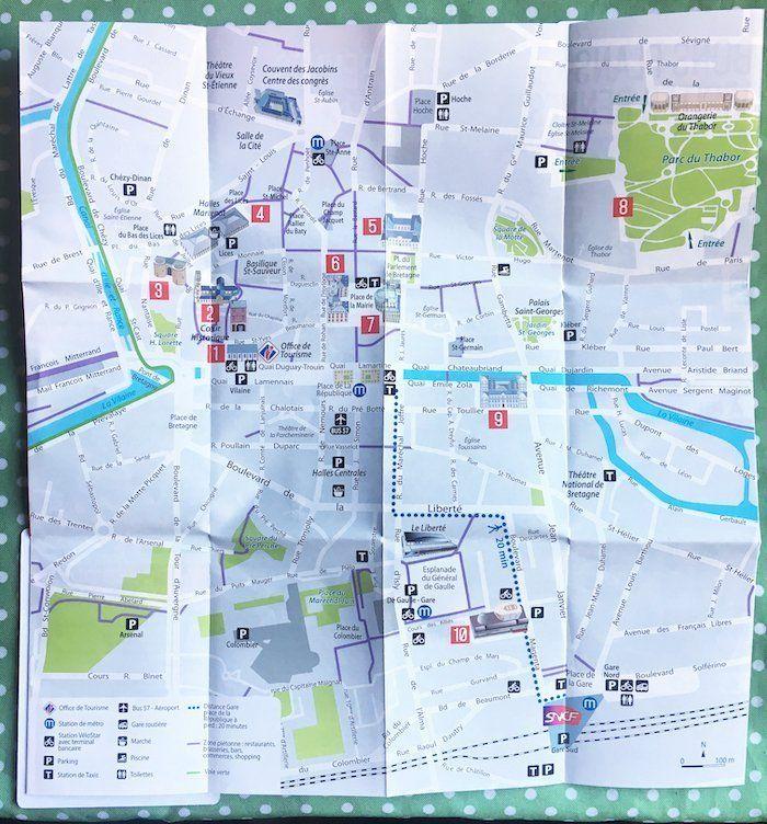 mapa turístico de Rennes