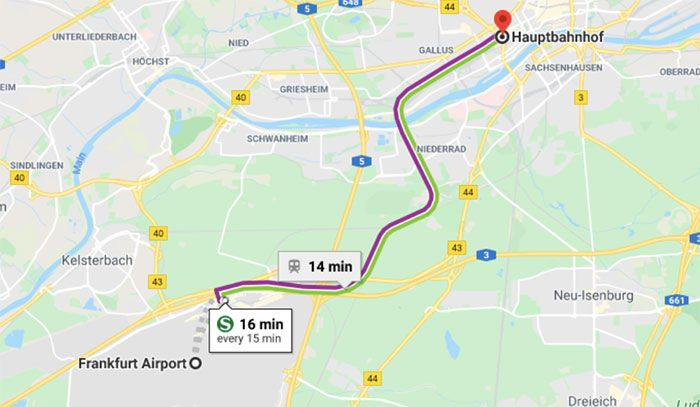del aeropuerto de Frankfurt al centro