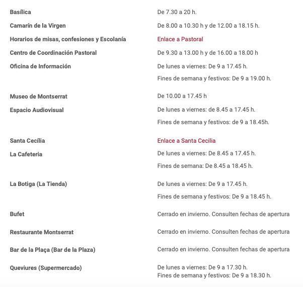 Horarios de Montserrat