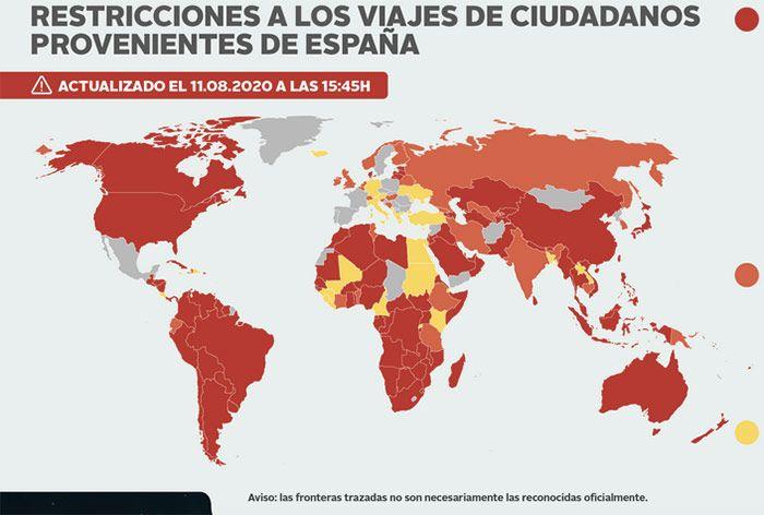 Mapa de restricciones de pasajeros provenientes de España por COVID
