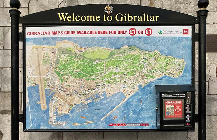 Cartel Wecome to Gibraltar y mapa