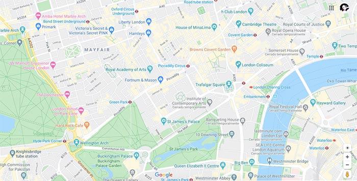Mapa zona centro de Londres, ideal para alojarse durante una visita