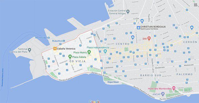 Mapa de la Ciudad Vieja de Montevideo
