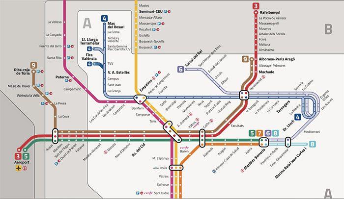 Mapa del metro de Valencia