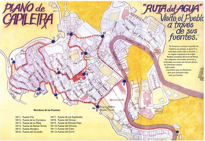 Mapa turístico de la ruta del agua de Capileira