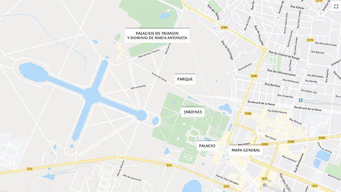 Mapa genera y esquemático del complejo de  Versalles