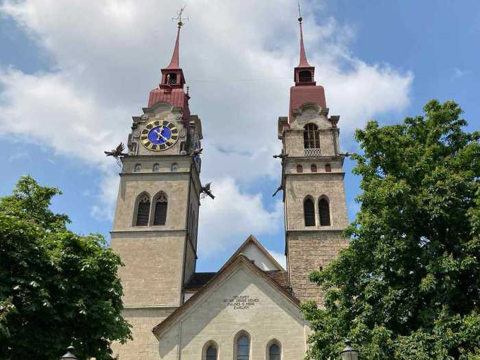 Torres de la iglesia parroquial de Winterthur, Suiza