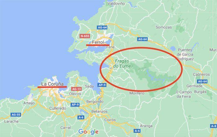 Ubicación de Fragas do Eume en el mapa