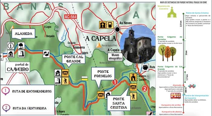 Mapa con Ruta dos Encomendeiros, Fragas do Eume, Galicia