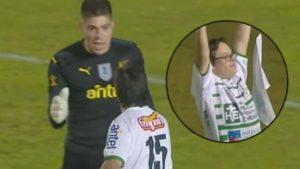 ¿Viste lo que hizo el arquero de Peñarol con un hincha rival?
