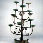 Fifteen-Cupped Brozne Lamp (tree shaped lamp) of Warring States Period, high 82.5cm, base diameter 26cm, stored in Cultural Relics Research Institute, Hebei Province.