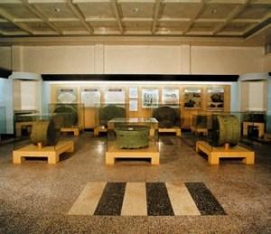 """The ancient bronze drums Exhibit"" displayed in the Guangxi Zhuang Autonomous Region Museum."