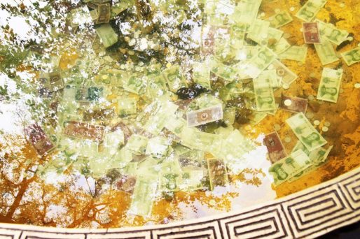 Money in a fountain