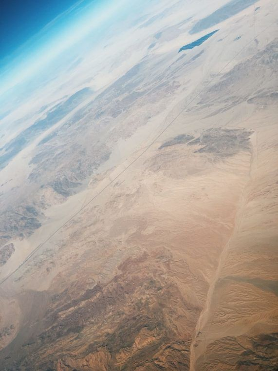 Flying above the desert, and Route No. 10