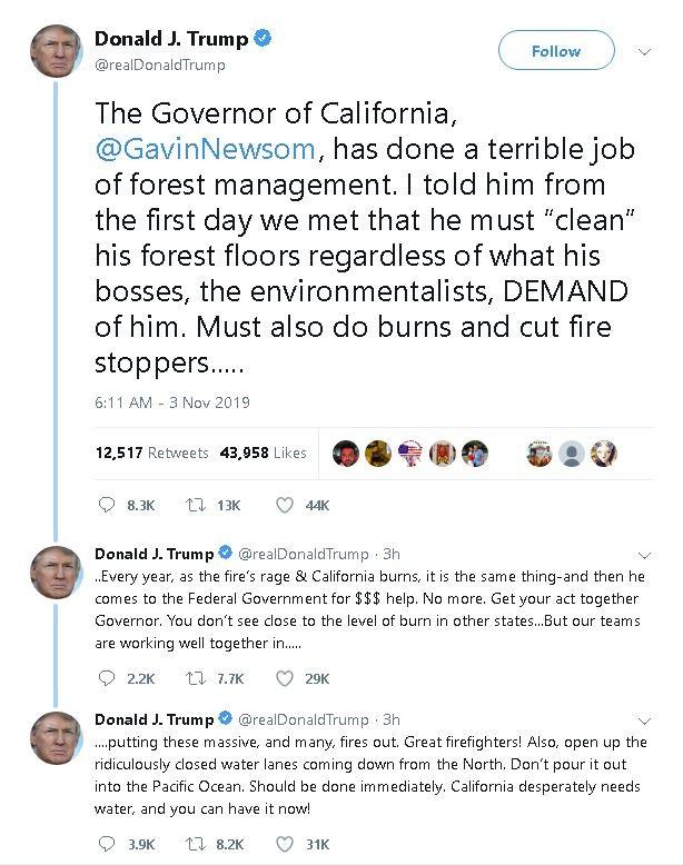 川普威胁砍加州救火金 纽森回呛:你在为自己辩解_图1-4