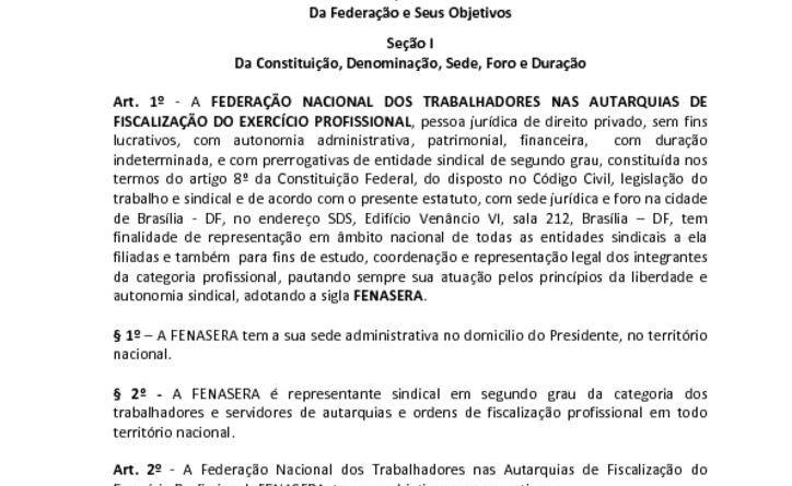 thumbnail of Estatuto da FENASERA Novo