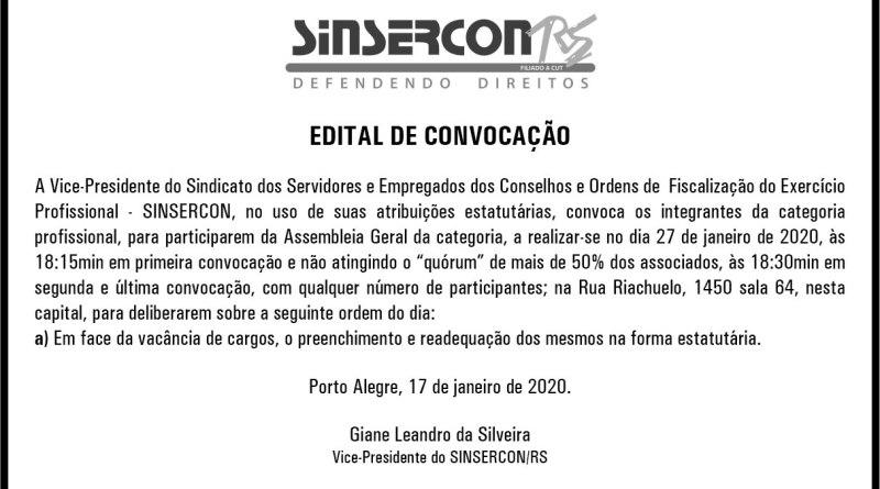 EDITAL DE CONVOCAÇÃO ASSEMBLEIA