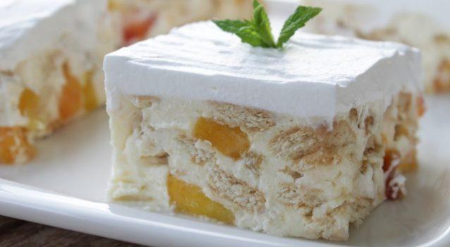 Δροσερό γλυκό ψυγείου με ροδάκινα (Video)