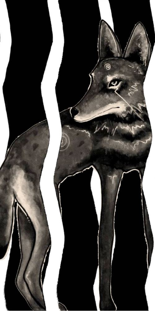 Primal Voices, Between the Lines, Painting, Coyote, Virginia Romero, Las Cruces