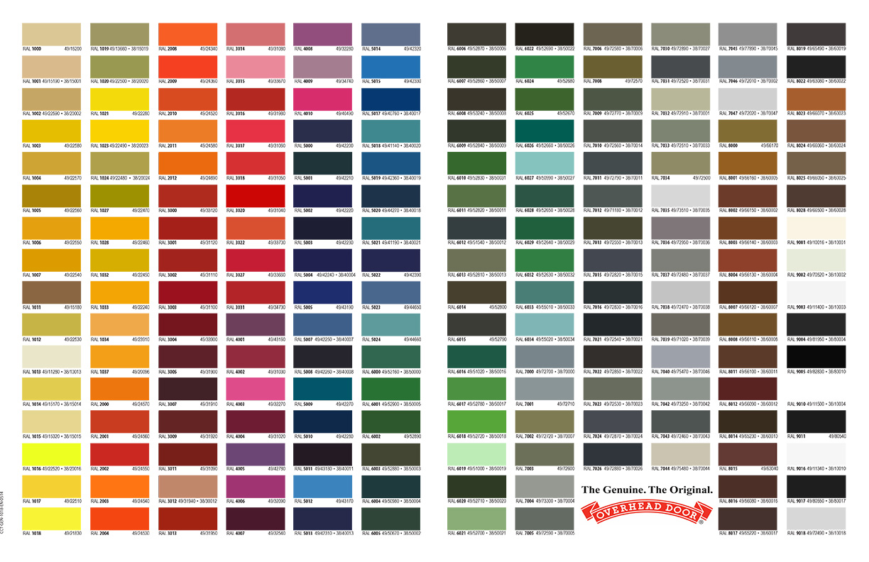 Our Garage Door Color Chart on Garage Door Colors  id=53444