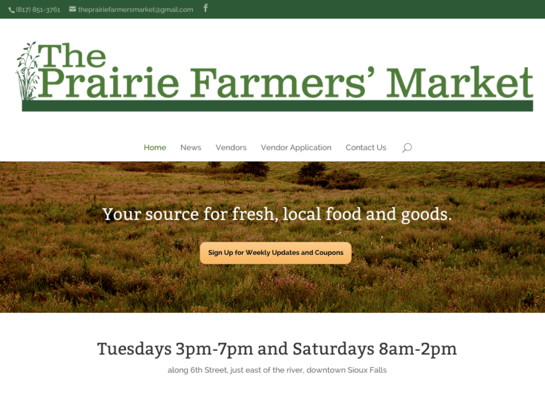 Branding, Website Design, and Content Creation for The Prairie Farmers' Market of Sioux Falls
