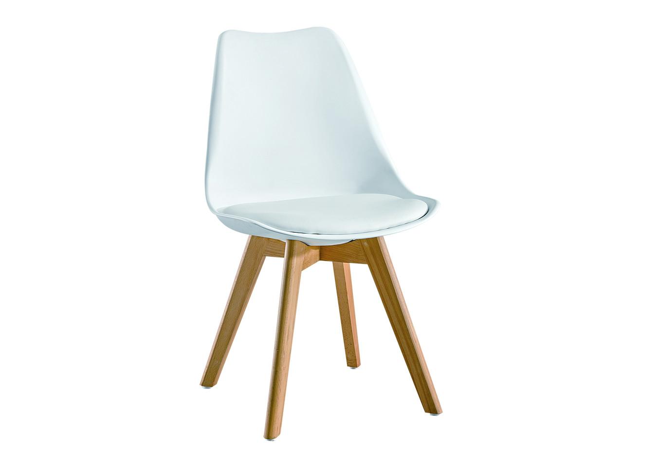 chaise de salle a manger helsinki blanc et pieds bois