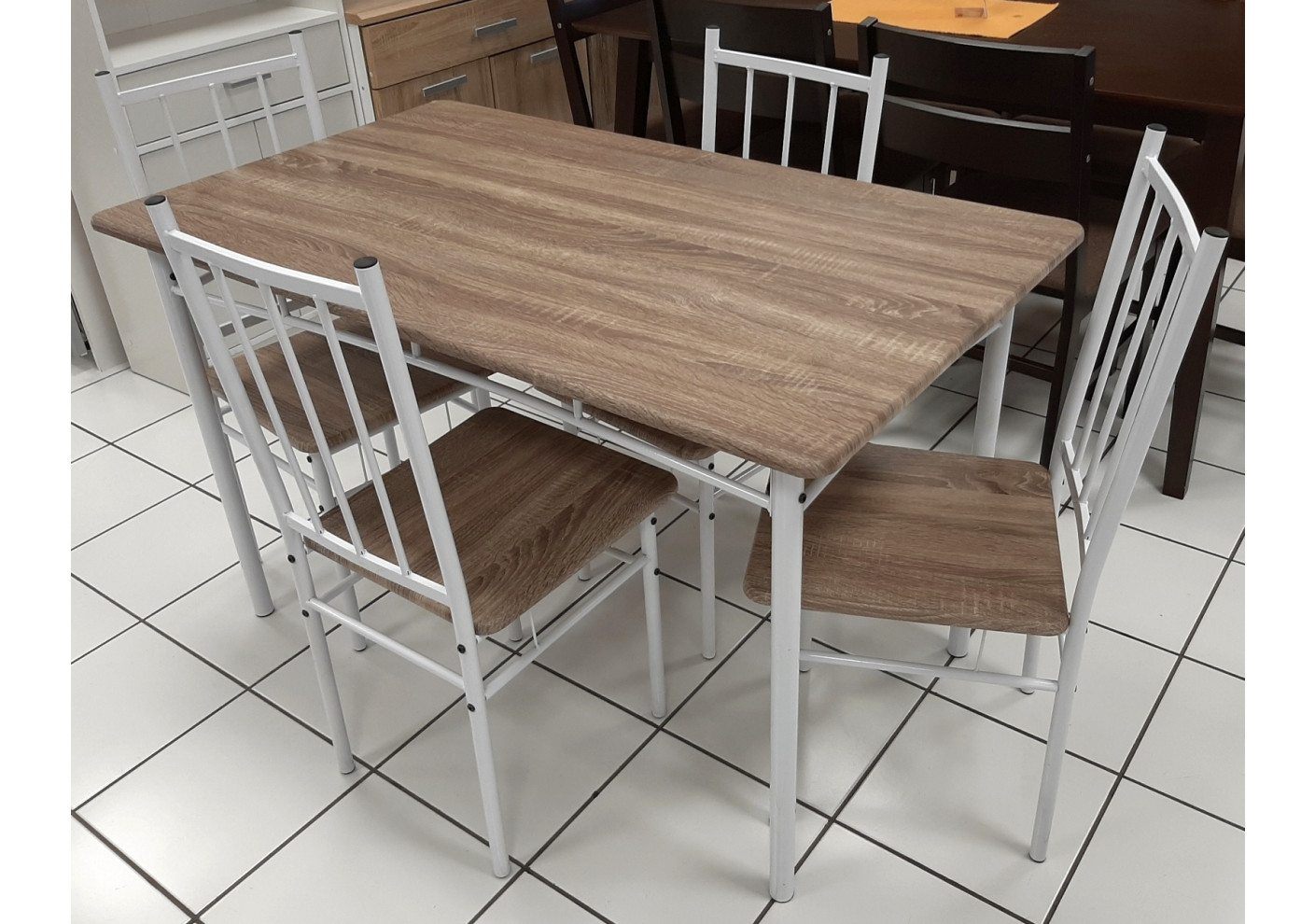 ensemble table et 4 chaises livourne plateaux chene grise pieds blanc