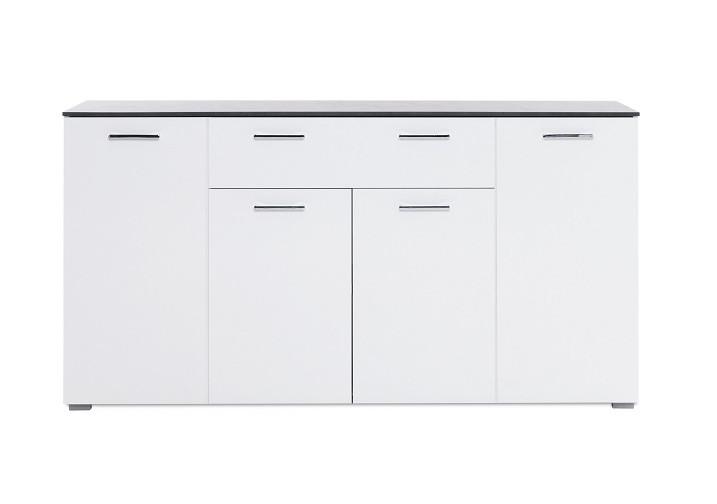 buffet bas 4 portes 1 tiroir magic beton fonce blanc