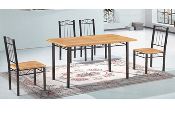 ensemble table 6 chaises arya noir chene