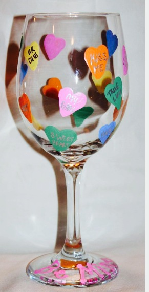 Conversation Heart Wineglasses