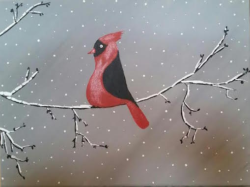 Cardinal on a Snowy Branch