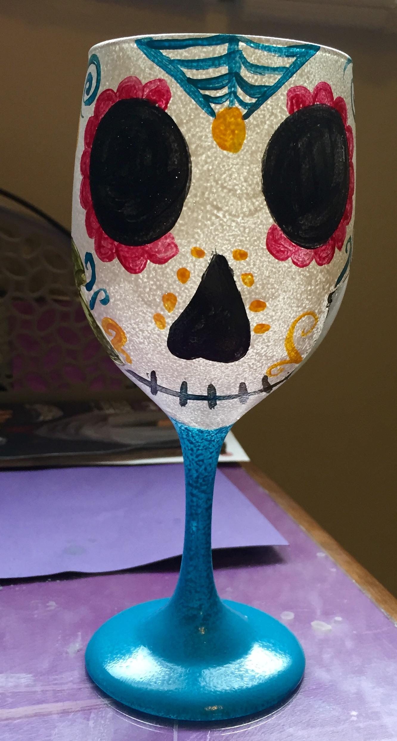 Sugar Skulls- Wineglass painting