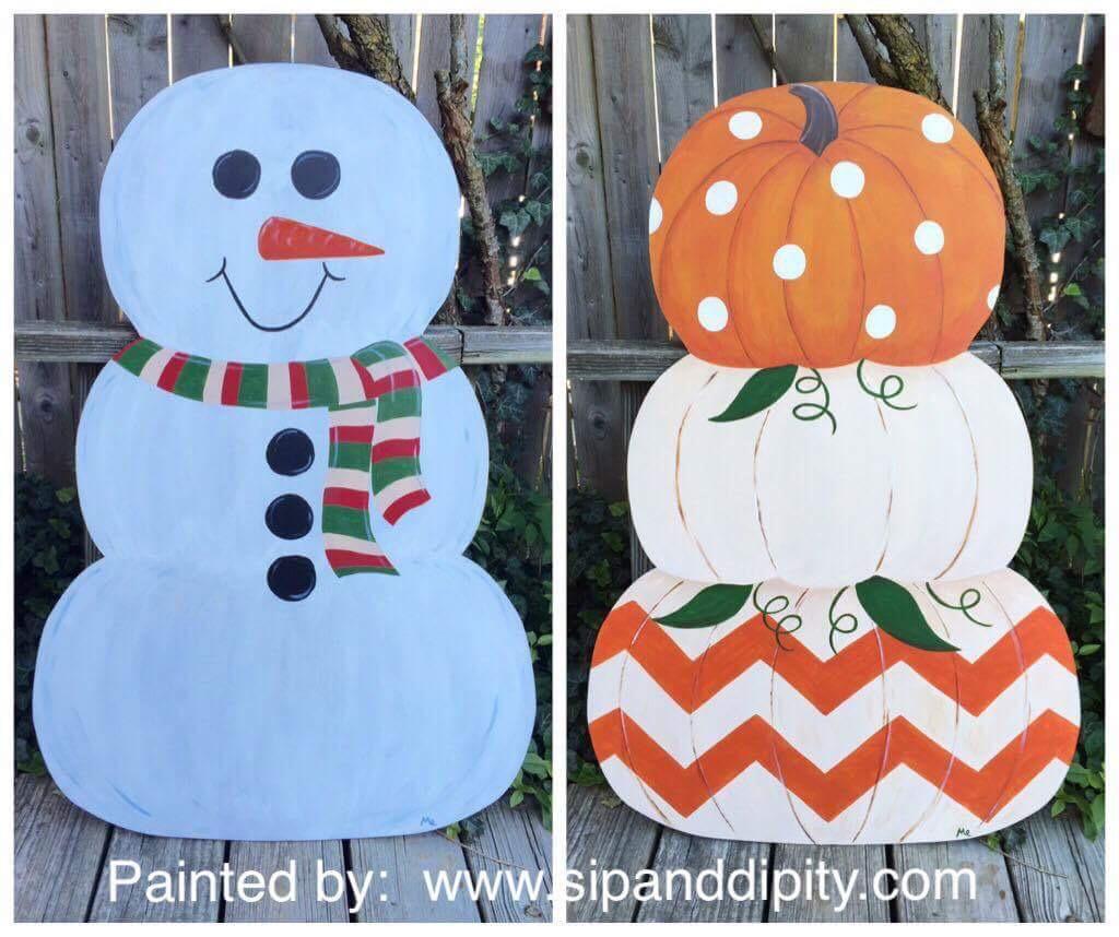 3 ft wood pumpkin/snowman 2 sided piece