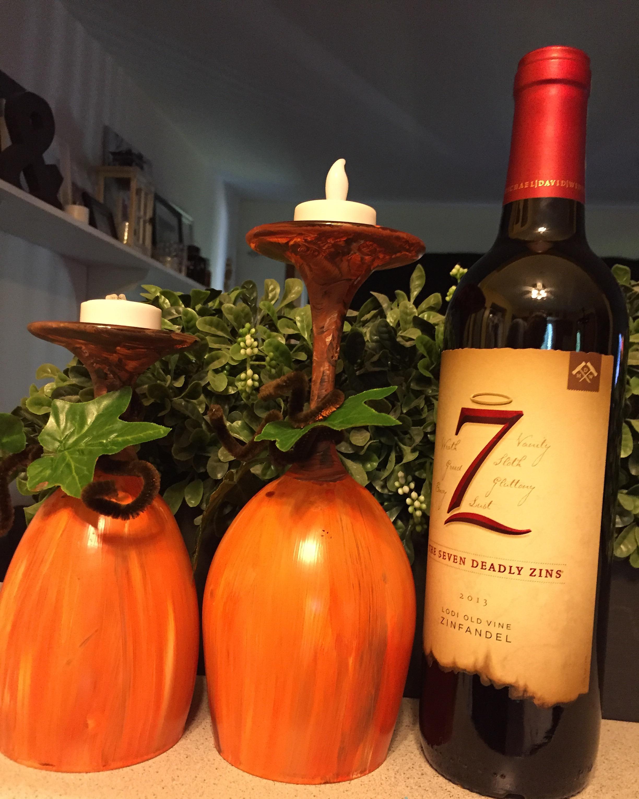Pumpkin Wineglass Candleholders