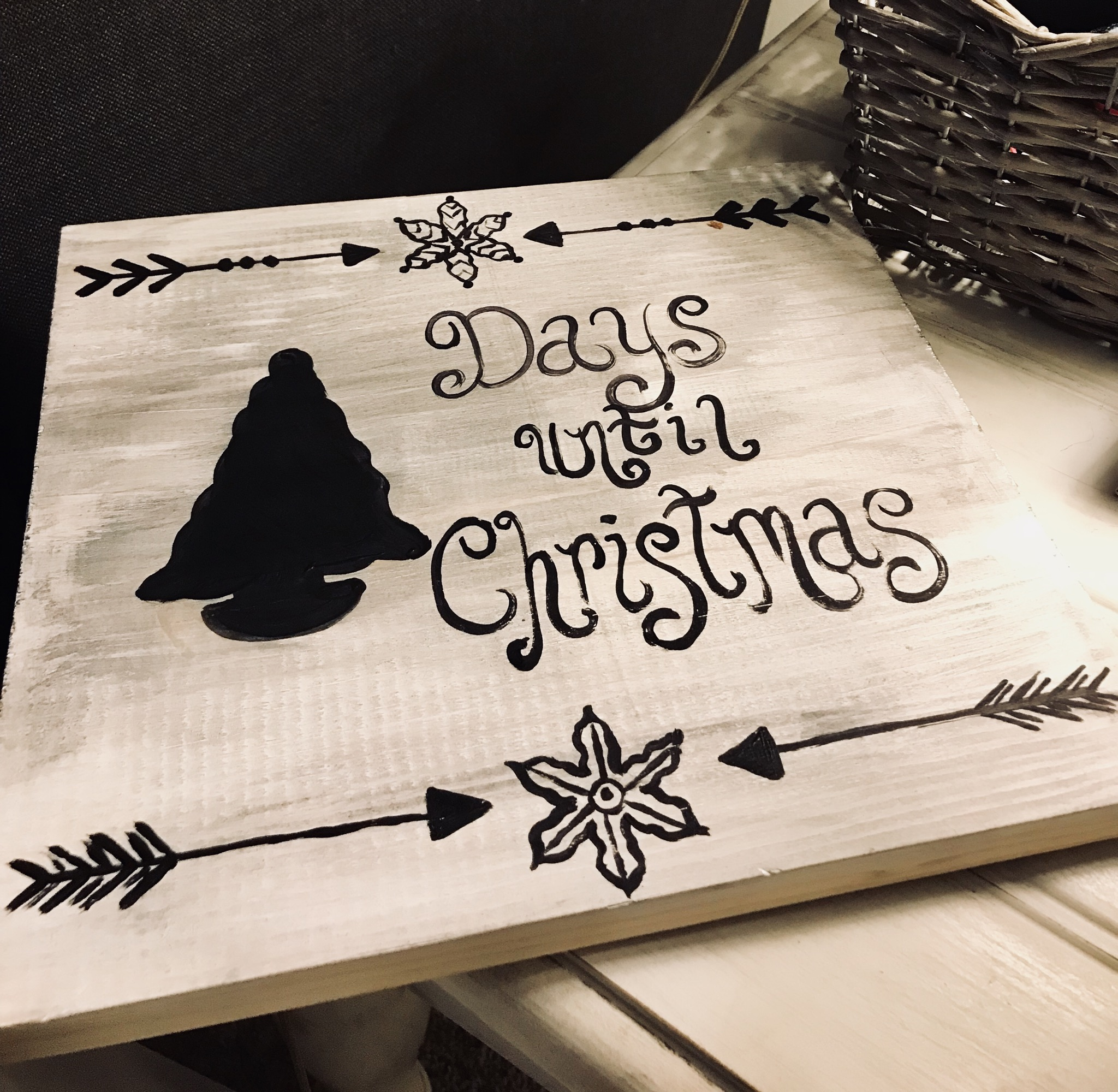 Days until Christmas Chalk Wood Sign
