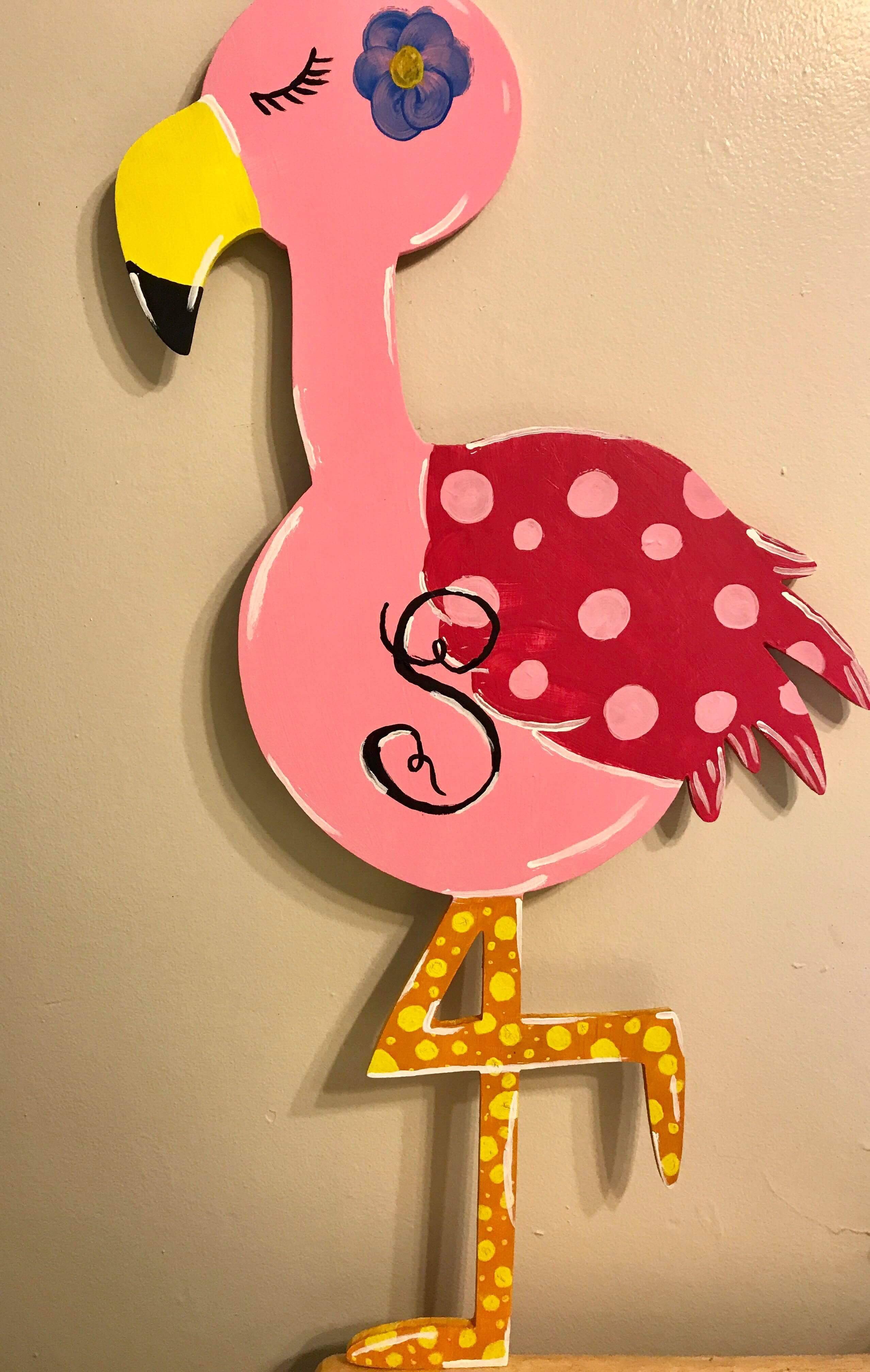 Wood Flamingo Door hangers