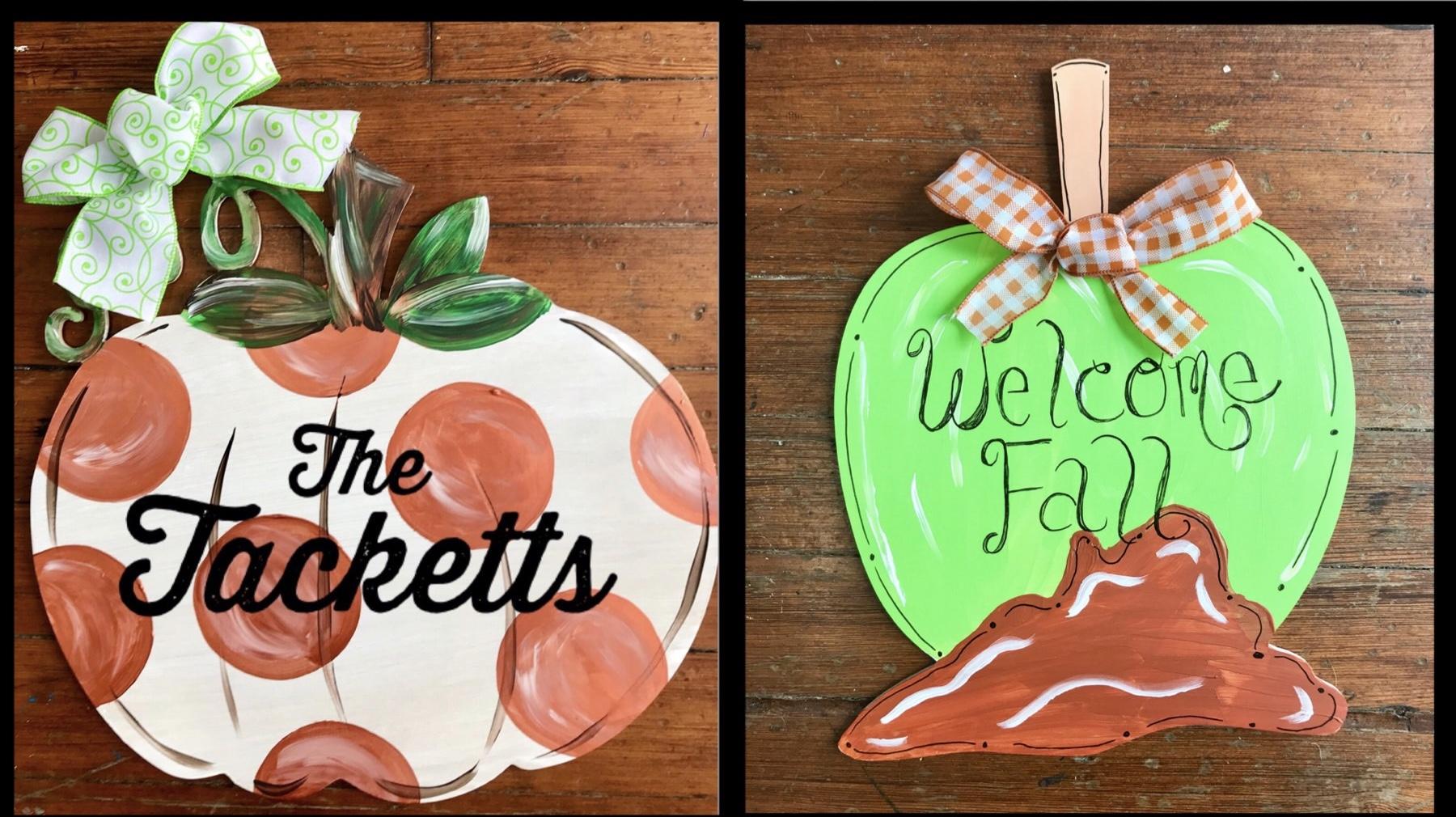 Wood Door Hanger- pumpkin or caramel apple