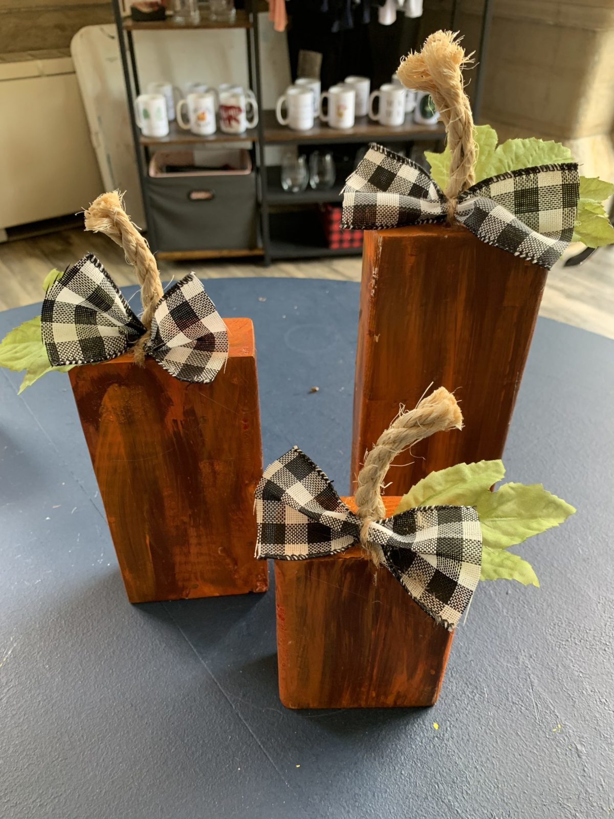 Wood Table top pumpkins