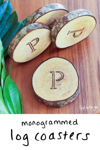 Monogrammed log coasters - a creative wedding gift idea for the bride and groom who has everything (except wood slice coasters). Get more garden wedding ideas at sipbitego.com.