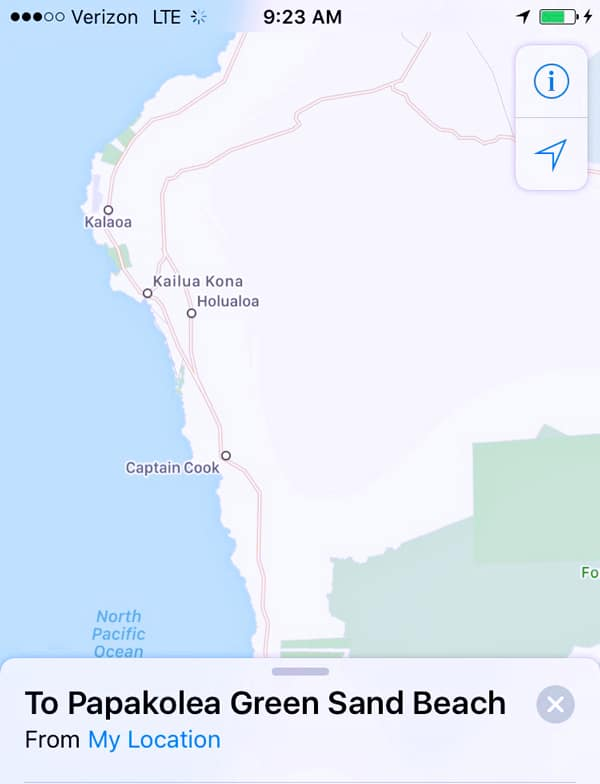 A map of Green Sand Beach Papakolea South Point