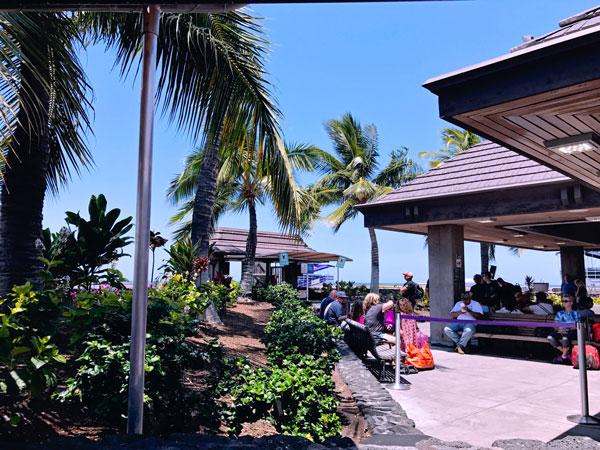 Hawaii Kona Big Island Airport Outdoors boarding the plane on tarmac