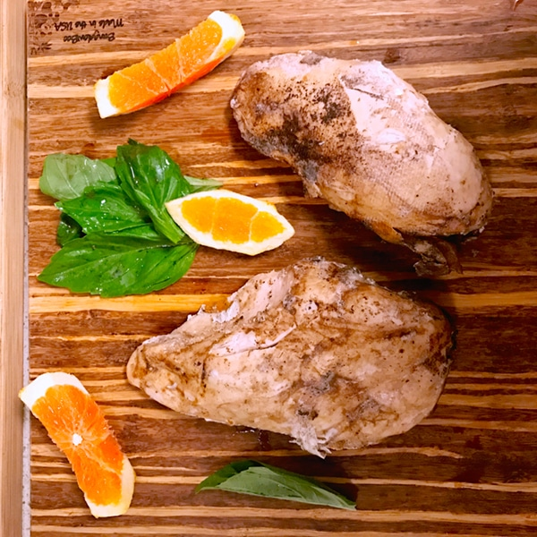 Sous vide chicken in an orange sage glaze