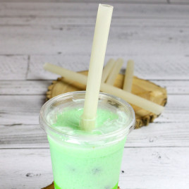 Bubble Tea Rice Straws in Compostable Cup.