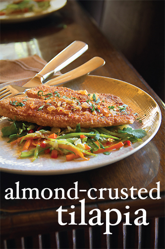 Crispy Almond-Crusted Tilapia Fillets with Spicy Stir Fried Vegetables