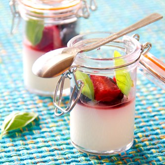 Basil Berry Panna Cotta