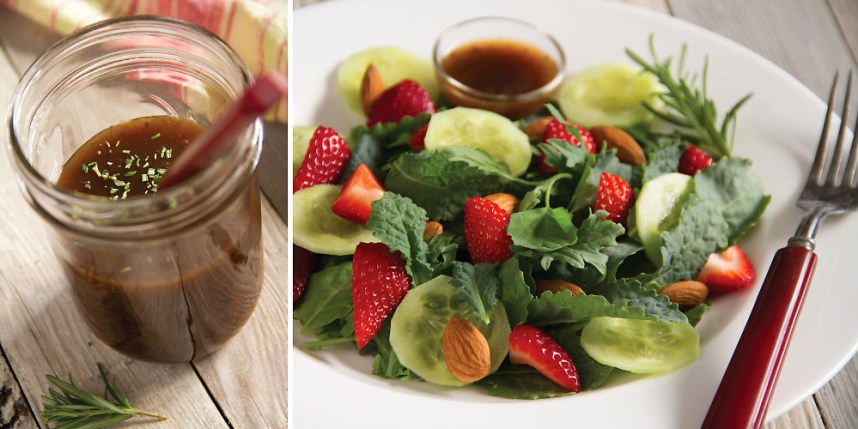 Baby Kale Strawberry Salad with Balsamic Dressing
